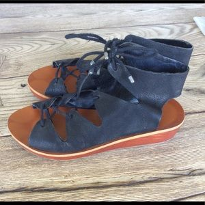 Lucky Brand Shoes - Lucky Brand Black Hipsta Gladiator Lace Up Wedge